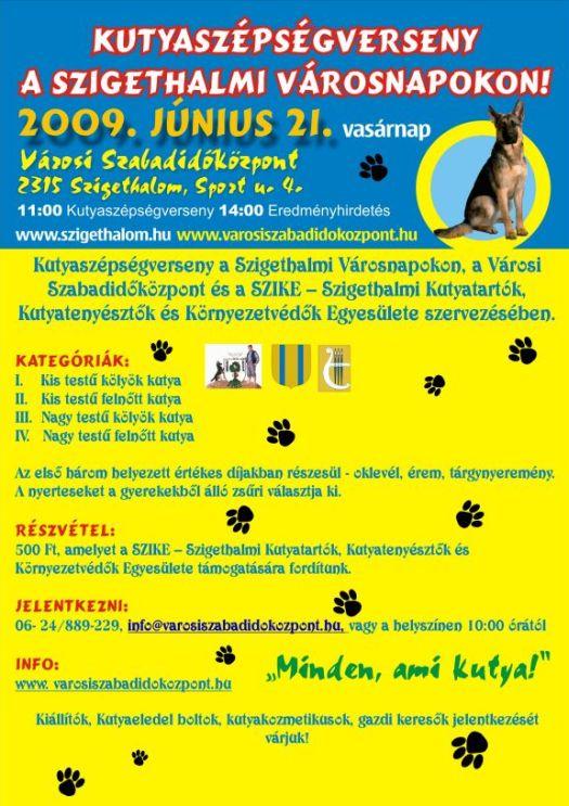 Kutyaszépségverseny a szigethalmi városnapokon! (június 21.)