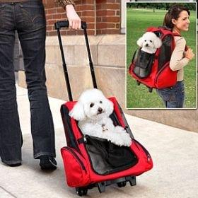 gurulós bőrönd, kutya, kutyahordozó
